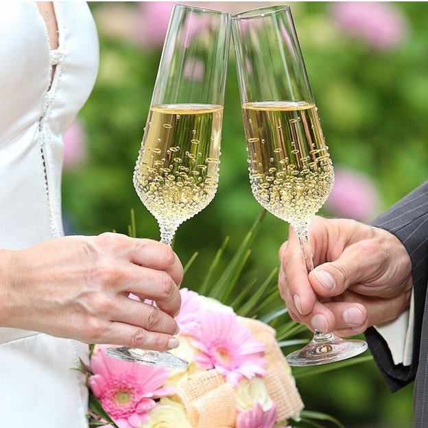 Sekt-/Champagnerglas Bohemian Grace Swarovski Kristalle 200ml 2-er Set Gaia