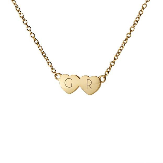 Personalisierbare Halskette 2 Herzen