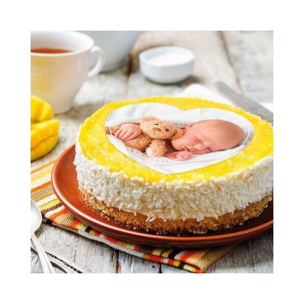 Photo comestible Cœur pour gâteau 20 x 19 cm