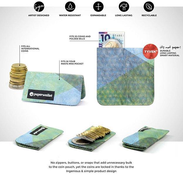 Porte-monnaie en papier Paperwallet Azumi Dots