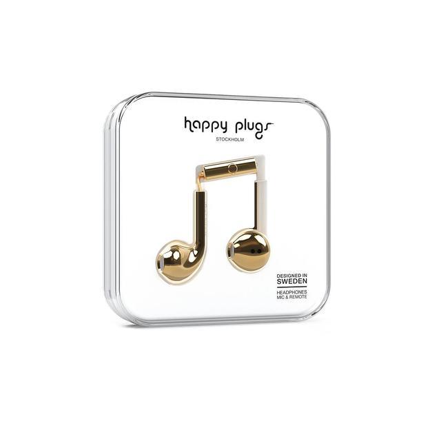 Écouteurs Happy Plugs Deluxe Edition Gold Chrome