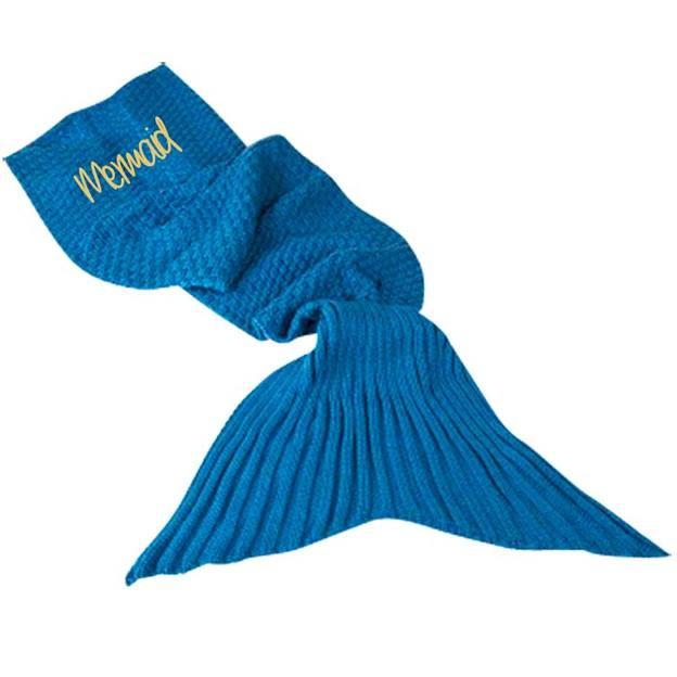 Couverture Sirène personnalisée - bleue