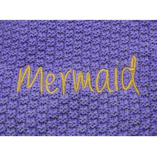 Personalisierbare Kuscheldecke Meerjungfrau blau