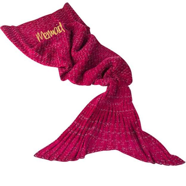 Personalisierbare Kuscheldecke Meerjungfrau magenta