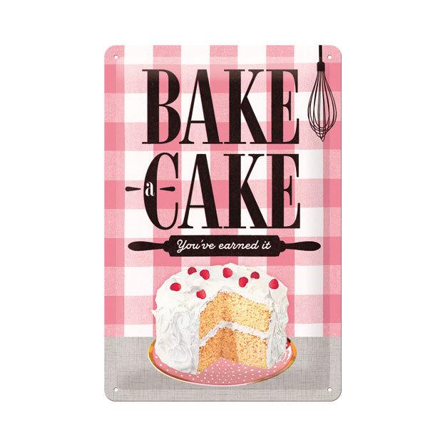Blechschild Bake Cake 20 x 30