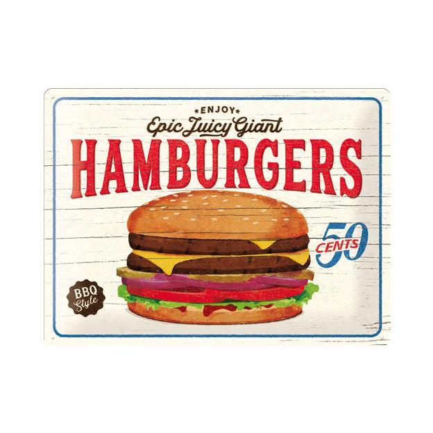 Plaque en métal Hamburgers 30 x 40 cm