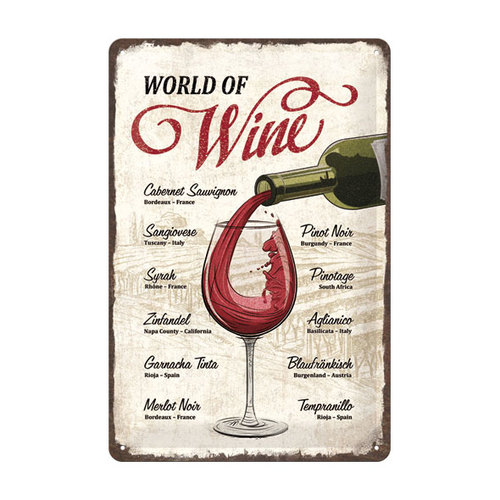 Image of Blechschild World Of Wine 20 x 30