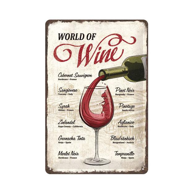 Blechschild World Of Wine 20 x 30