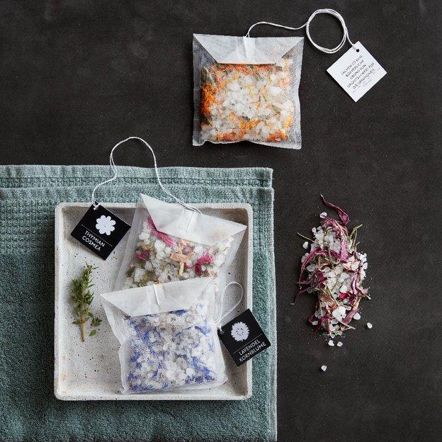 Sachet de thé géant pour le bain – sel de bain lavande et bleuet
