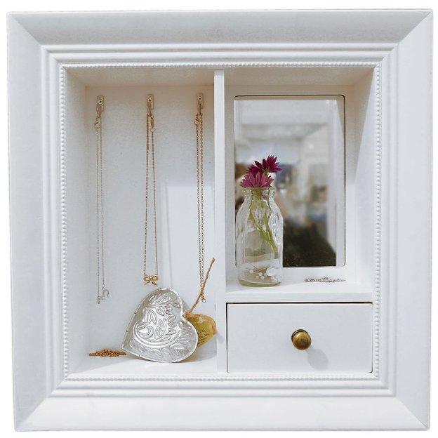 Boîte à bijoux avec miroir et tiroir