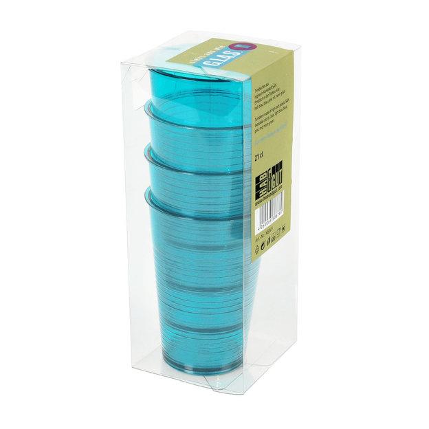 Gobelets en plastique réutilisables, set de 4 - bleu