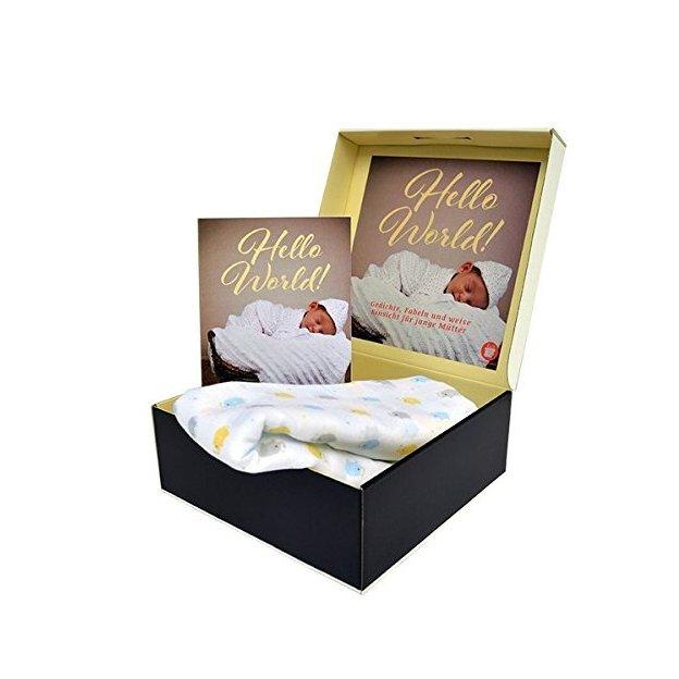 Neugeborenen Geschenkbox - Buch Hello World & Nuscheli