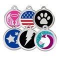 Personalisierbare Hunde- & Katzenmarke Edelstahl farbig Ø 20mm