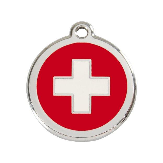 Médaille personnalisée chien et chat fantaisie Ø 20 mm - Croix suisse