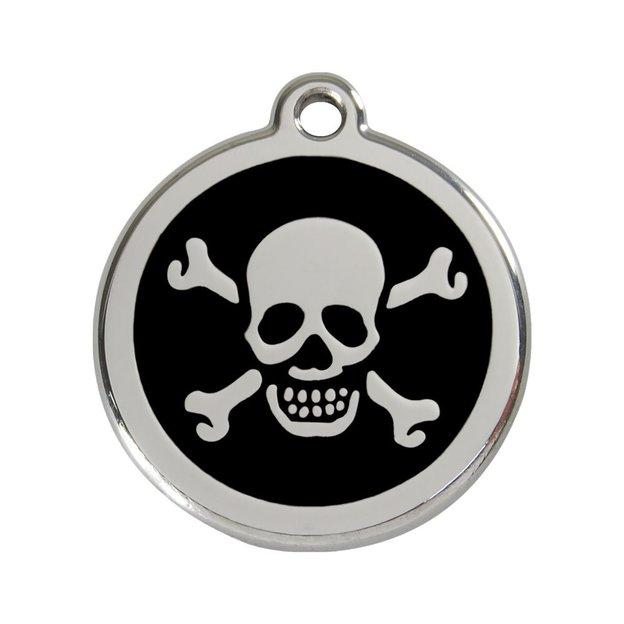 Médaille personnalisée chien et chat fantaisie Ø 30 mm - Tête de mort