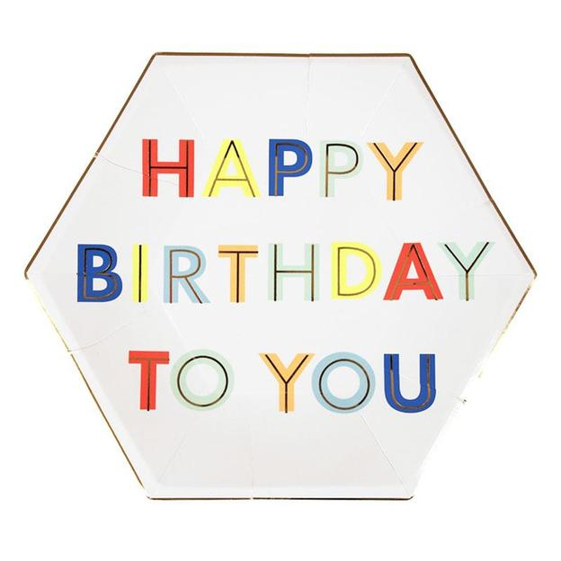 Assiettes en carton Happy Birthday, 8 pièces