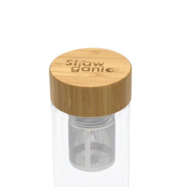 Teeflasche aus Doppelwandglas (450 ml) von Strawganic