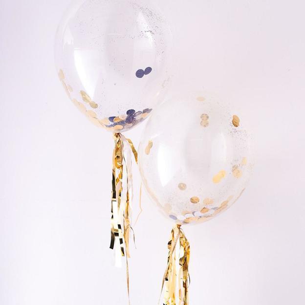 Ballons transparents avec confettis d'or - 8 pièces