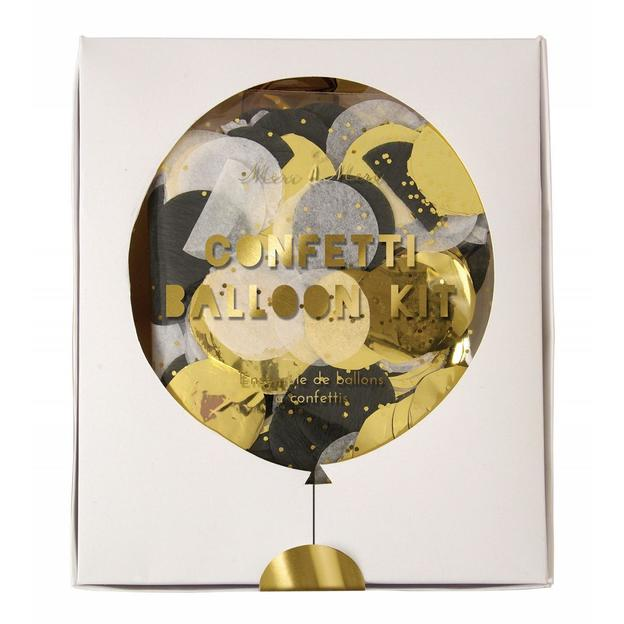 Transparente Ballone mit goldenem Konfetti - 8 Stk.