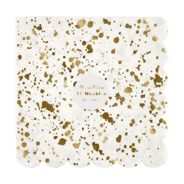 Serviettes de fête Gold Splash - 16 pièces