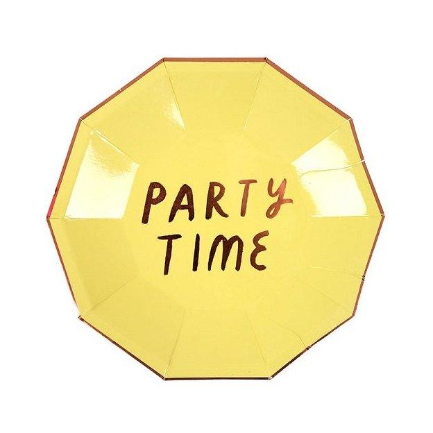 Assiettes en carton Party Time - pastel et or rosé - 8 pièces