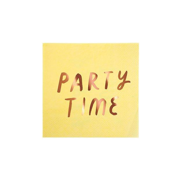 Serviettes Party Time - or rosé - 16 pièces