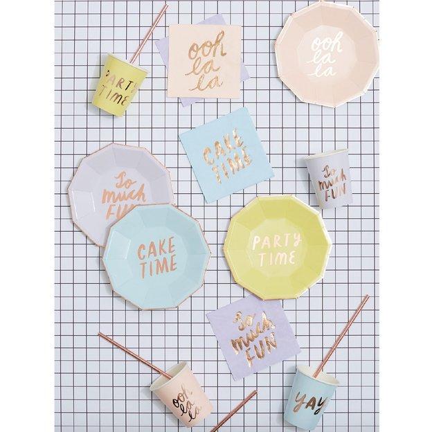Gobelets en carton Paty Time - or et pastel - 8 pièces