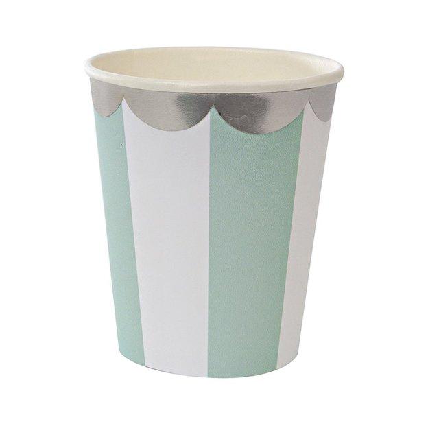 Gobelets en carton rétro - menthe - 8 pièces