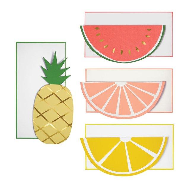 Carte de vœux Fruits avec enveloppes, set de 12