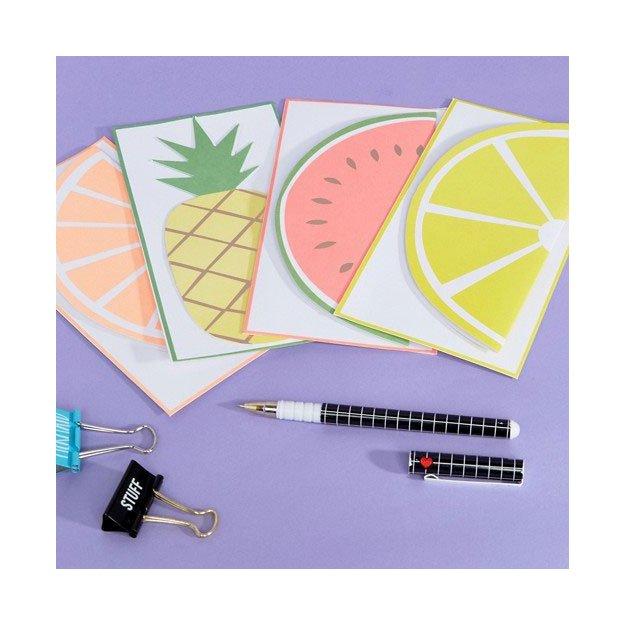 Grusskarten mit Couverts Früchte 12er Set