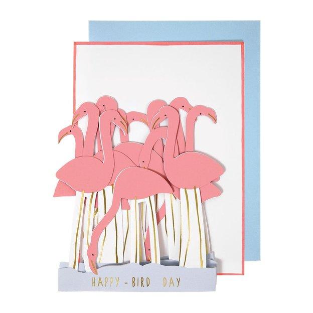 Carte d'anniversaire / déco de fête Flamants roses