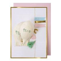 Carte de vœux pour un mariage Mr & Mrs avec ballons