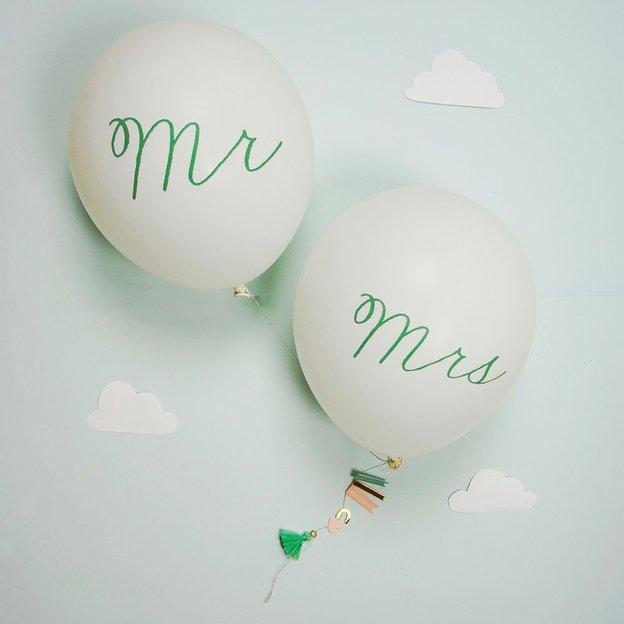 Grusskarte Hochzeit Mr & Mrs mit Ballons