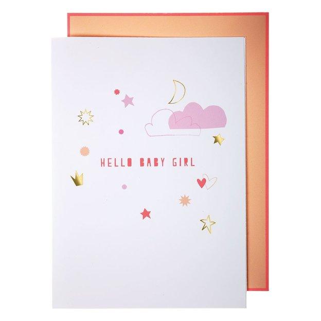 Grusskarte Girlande Baby Girl