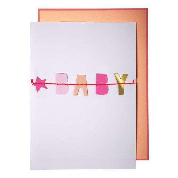 Carte de vœux avec guirlande Baby Girl