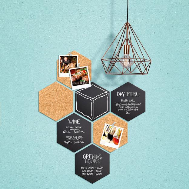 Mini tableaux noirs et panneaux en liège Hexagone - 7 pièces