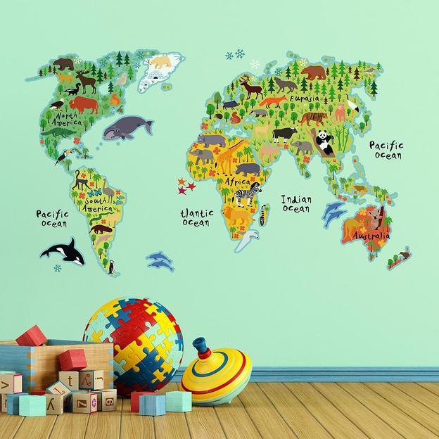 Wandtattoo Weltkarte der Tiere