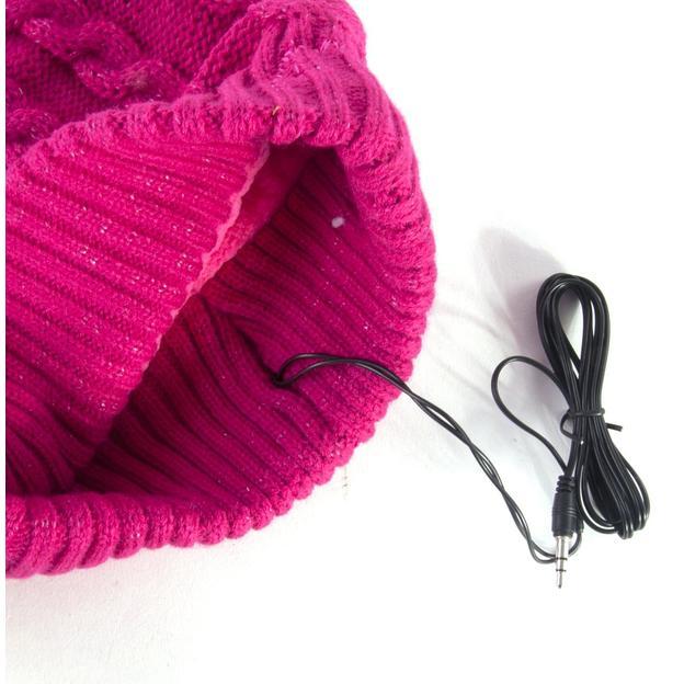Bonnet Bobble avec écouteurs intégrés - rose