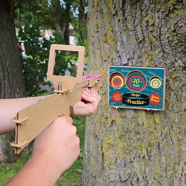 Gummiband-Gewehr mit Zielscheibe
