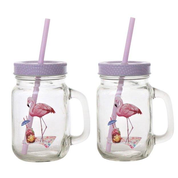 Henkelbecher Flamingo mit Strohhalm 4er Set