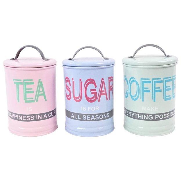 Boîtes Tea Sugar Coffee, set de 3