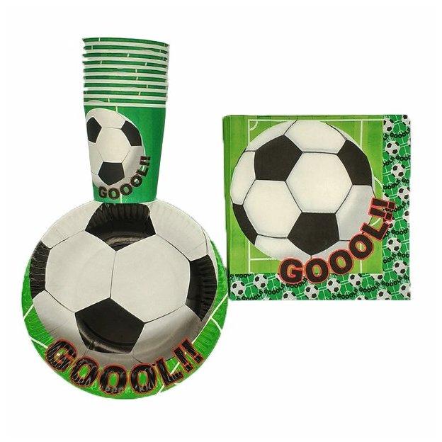 60-teiliges Fussball Partyset mit Pappteller, Pappbecher und Servietten