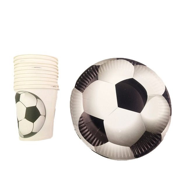 Assiettes et gobelets en carton Football, set de 20