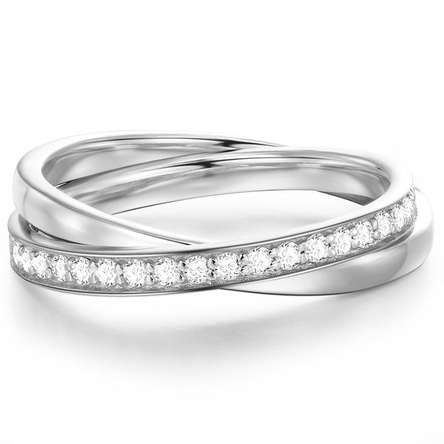 Fingerring Sterling Silber mit Steinchen 52