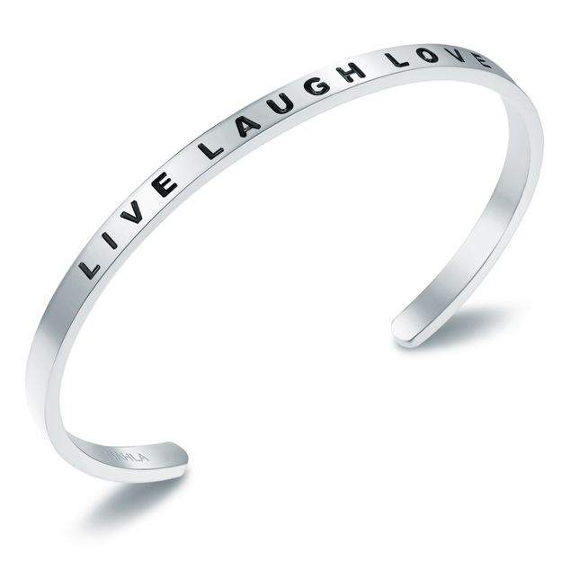 Bangle Edelstahl LIVE LAUGH LOVE silber