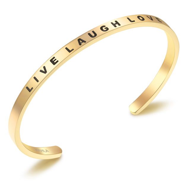 Bangle Edelstahl LIVE LAUGH LOVE vergoldet