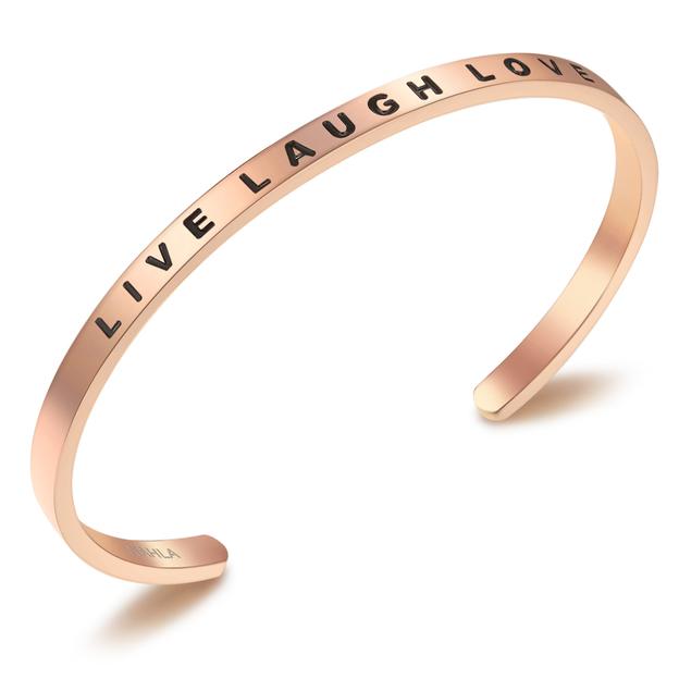 Bracelet en acier inoxydable LIVE LAUGH LOVE - or rosé