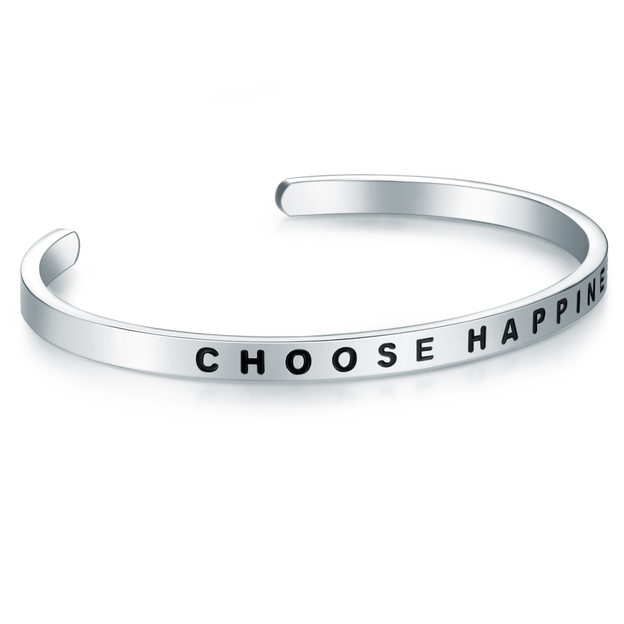 Bracelet en acier inoxydable CHOOSE HAPPINESS
