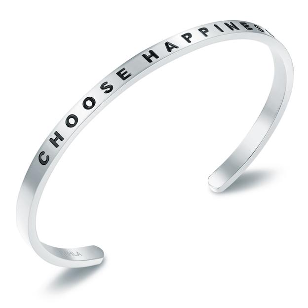 Bracelet en acier inoxydable CHOOSE HAPPINESS - argent