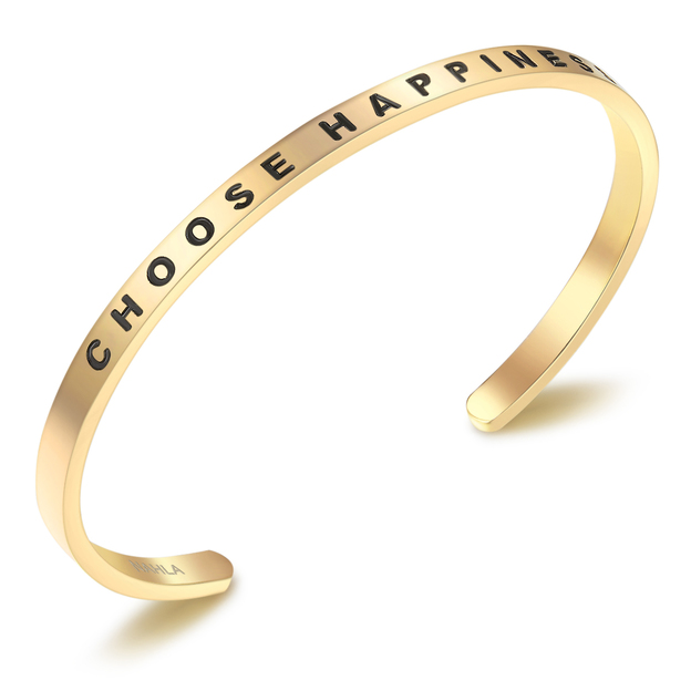 Bangle Edelstahl CHOOSE HAPPINESS vergoldet